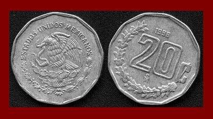 MEXICO 1998 20 CENTAVOS COIN KM#548 Central America