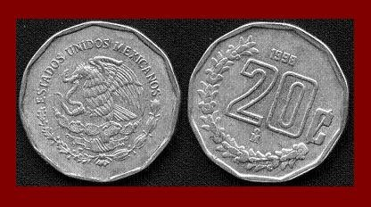 MEXICO 1995 20 CENTAVOS COIN KM#548 Central America