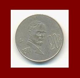 MEXICO 1977 20 CENTAVOS COIN KM#442 Central America ~ Francisco Madero