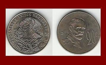 MEXICO 1975 20 CENTAVOS COIN KM#442 Central America ~ Francisco Ignacio Madero Gonzalez