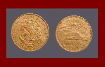 MEXICO 1966 20 CENTAVOS BRONZE COIN KM#440 Central America ~ Mayan Pyramid of the Sun at Teotihuacan
