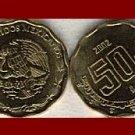 MEXICO 2002 50 CENTAVOS BRASS COIN KM#549 Central America ~ BU ~ BEAUTIFUL!