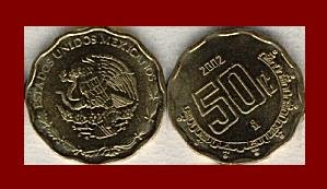 MEXICO 2002 50 CENTAVOS BRASS COIN KM#549 Central America ~ BU ~ BEAUTIFUL!
