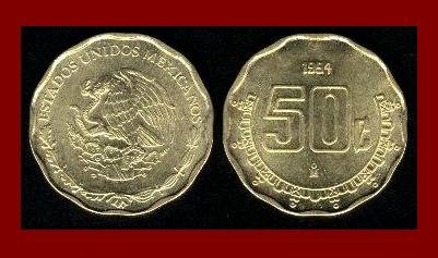 MEXICO 1994 50 CENTAVOS BRASS COIN KM#549 Central America ~ BEAUTIFUL!
