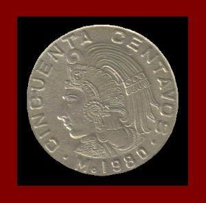 MEXICO 1980 50 CENTAVOS BRASS COIN KM#452 Central America ~ Aztec Emperor Cuauhtemoc