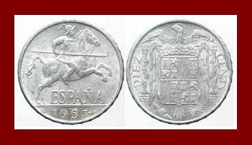 SPAIN 1953 10 CENTIMOS COIN KM#766 Francisco Franco ~ Conquistador