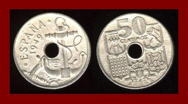 SPAIN 1949 50 CENTIMOS COIN KM#777 Y116 Francisco Franco ~ Ship Anchor & Steering Wheel