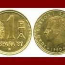 SPAIN 1980(81) 1 PESETA PTA COIN KM#821 KING JUAN CARLOS I ~ Commemorative World Cup Soccor Games
