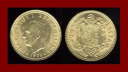 SPAIN 1975(79) 1 PESETA COIN KM#806 ~ King Carlos I ~ BEAUTIFUL!