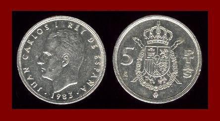SPAIN 1983 5 PESETAS PTAS COIN KM#823 Y128a - King Juan Carlos I ~ BEAUTIFUL!