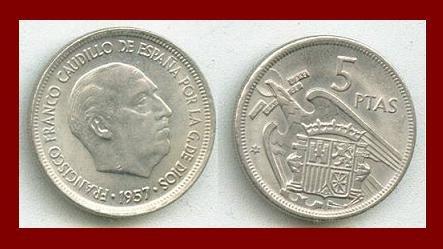 SPAIN 1957(74) 5 PESETAS PTAS COIN KM#786 Y118 Regent Francisco Franco - SCARCE! ~ BEAUTIFUL!