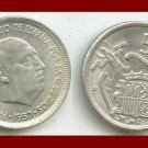 SPAIN 1957(74) 5 PESETAS PTAS COIN KM#786 Y118 Regent Francisco Franco - SCARCE! ~ BEAUTIFUL!