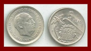 SPAIN 1957(64) 5 PESETAS PTAS COIN KM#786 Y118 Europe - Regent Francisco Franco - SCARCE!
