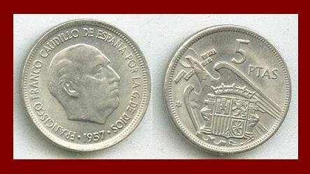 SPAIN 1957(58) 5 PESETAS PTAS COIN KM#786 Y118 Europe - Regent Francisco Franco - SCARCE!