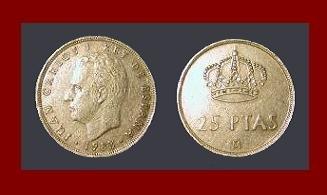 SPAIN 1983 25 PESETAS PTAS COIN KM#824 Y129a KING JUAN CARLOS I