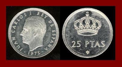 SPAIN 1975(78) 25 PESETAS PTAS COIN KM#808 Y129 - King Juan Carlos I ~ BEAUTIFUL!