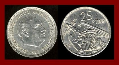 SPAIN 1957 25 PESETAS PTAS COIN KM#787 Y119 Europe - Regent Francisco Franco - SCARCE!