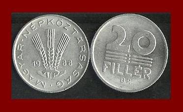 HUNGARY 1988 20 FILLER COIN KM#573 ~ 3 Wheat Stalks