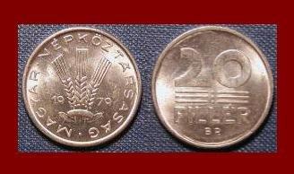 HUNGARY 1979 20 FILLER COIN KM#573 ~ 3 Wheat Stalks