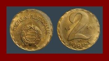 HUNGARY 1974 2 FORINT BRASS COIN KM#591