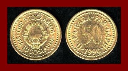 YUGOSLAVIA 1990 50 PARA COPPER ZINC COIN KM#141 COMMUNIST COIN