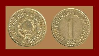 YUGOSLAVIA 1982 1 DINAR NICKEL BRASS COIN KM#86 COMMUNIST COIN