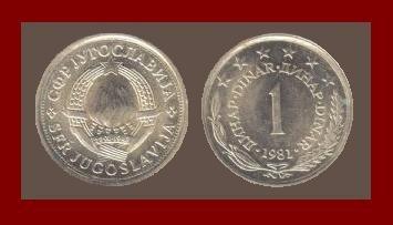 YUGOSLAVIA 1981 1 DINAR COPPER NICKEL ZINC COIN KM#59 - 6 STARS - COMMUNIST COIN