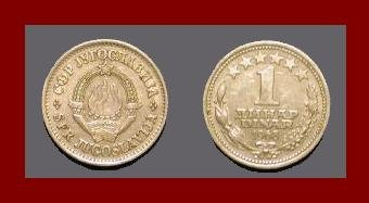 YUGOSLAVIA 1968 1 DINAR COPPER NICKEL COIN KM#48 - 6 STARS - COMMUNIST COIN