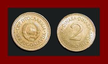 YUGOSLAVIA 1982 2 DINARA NICKEL BRASS COIN KM#87 COMMUNIST COIN