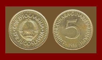 YUGOSLAVIA 1986 5 DINARA NICKEL BRASS COIN KM#88 COMMUNIST COIN