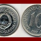 YUGOSLAVIA 1987 10 DINARA COPPER NICKEL COIN KM#89 - COMMUNIST COIN ~ BU ~ BEAUTIFUL!