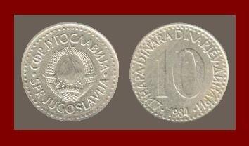 YUGOSLAVIA 1984 10 DINARA COPPER NICKEL COIN KM#89 - COMMUNIST COIN ~ BEAUTIFUL!