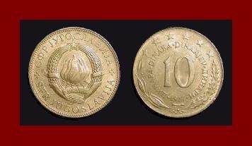 YUGOSLAVIA 1977 10 DINARA COPPER NICKEL COIN KM#62 - 6 STARS - COMMUNIST COIN