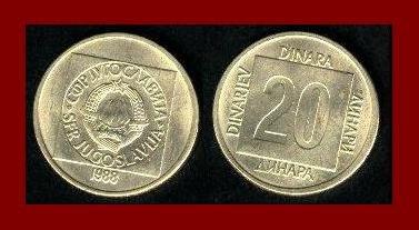 YUGOSLAVIA 1988 20 DINARA BRASS COIN KM#132 - COMMUNIST COIN ~ BEAUTIFUL!