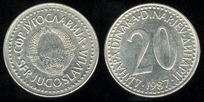 YUGOSLAVIA 1987 20 DINARA COPPER NICKEL ZINC COIN KM#112 - COMMUNIST COIN ~ BEAUTIFUL!