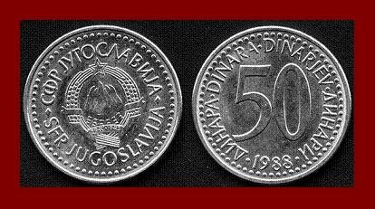YUGOSLAVIA 1988 50 DINARA COPPER NICKEL ZINC COIN KM#113 - COMMUNIST COIN ~ BU ~ BEAUTIFUL!