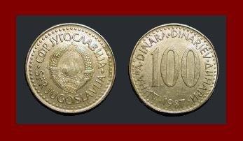 YUGOSLAVIA 1987 100 DINARA COPPER NICKEL ZINC COIN KM#114 - COMMUNIST COIN ~ BU ~ BEAUTIFUL!