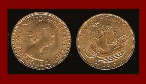 England United Kingdom Great Britain 1966 1/2 HALF PENNY BRONZE COIN KM#896 Drakes Ship Golden Hind