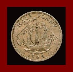 England United Kingdom Great Britain 1964 1/2 HALF PENNY BRONZE COIN KM#896 Drakes Ship Golden Hind