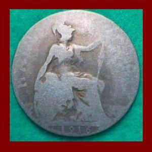 England UK Great Britain 1916 1/2 HALF PENNY BRONZE COIN KM#809 ~ Warrior Queen Britannia ~ SCARCE!