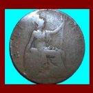 England UK Great Britain 1912 1/2 HALF PENNY BRONZE COIN KM#809 ~ Warrior Queen Britannia ~ SCARCE!