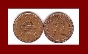 England United Kingdom Great Britain UK 1979 1 NEW PENNY BRONZE COIN KM#915 Crowned Porticullis
