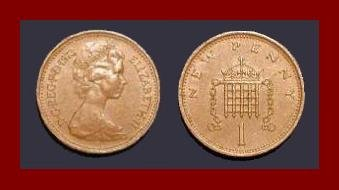 England United Kingdom Great Britain UK 1973 1 NEW PENNY BRONZE COIN KM#915 Crowned Porticullis