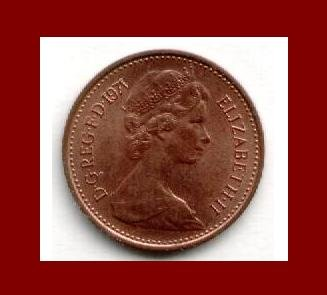England United Kingdom Great Britain UK 1971 1 NEW PENNY BRONZE COIN KM#915 Crowned Porticullis