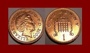 England United Kingdom Great Britain 2000 1 ONE PENNY COPPER STEEL COIN KM#935a Crowned Porticullis