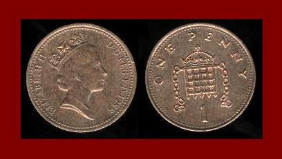 England United Kingdom Great Britain UK 1988 1 ONE PENNY BRONZE COIN KM#935 Crowned Porticullis