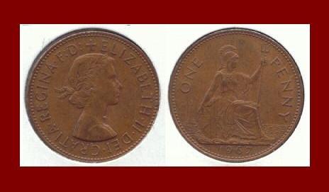 England United Kingdom Great Britain UK 1967 1 ONE PENNY BRONZE COIN KM#897 Warrior Queen Britannia