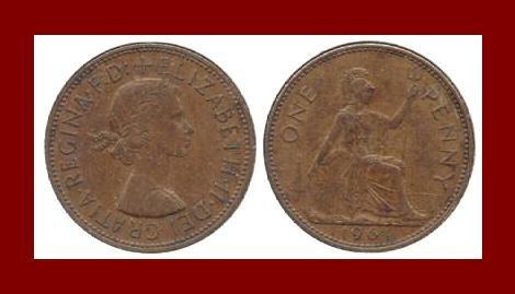 England United Kingdom Great Britain UK 1964 1 ONE PENNY BRONZE COIN KM#897 Warrior Queen Britannia