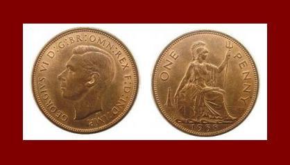England United Kingdom Great Britain UK 1938 1 ONE PENNY BRONZE COIN KM#845 Warrior Queen Britannia