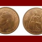 England United Kingdom Great Britain UK 1938 1 ONE PENNY BRONZE COIN KM#845 Warrior Queen Britannia